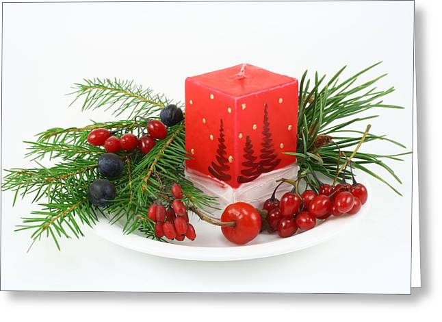 Greeting Card featuring the photograph Christmas Composition With Wood Berries by Aleksandr Volkov