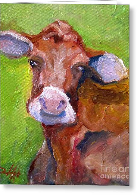 Christmas Cow On Green Greeting Card by Delilah  Smith