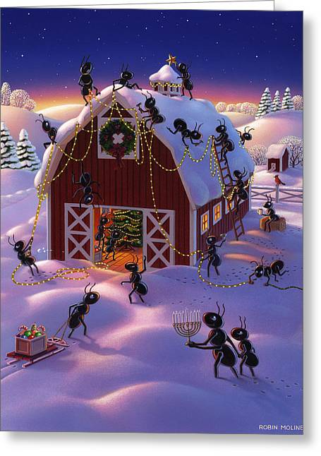 Christmas Decorator Ants Greeting Card