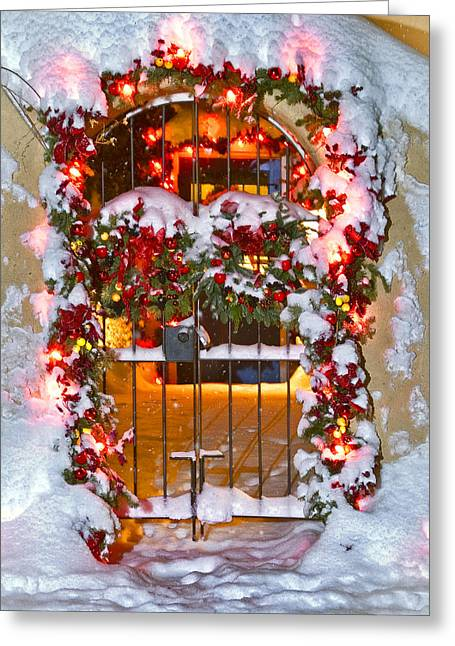 Greeting Card featuring the photograph Christmas Gate by Lou  Novick