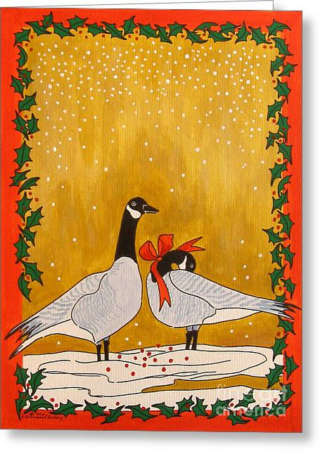 Christmas Geese Greeting Card by Susan Greenwood Lindsay