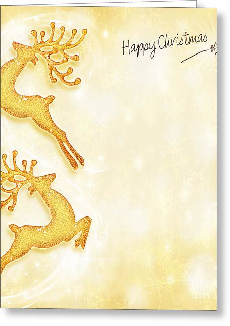 Christmas Holiday Card Golden Background Reindeer Decorative B Greeting Card