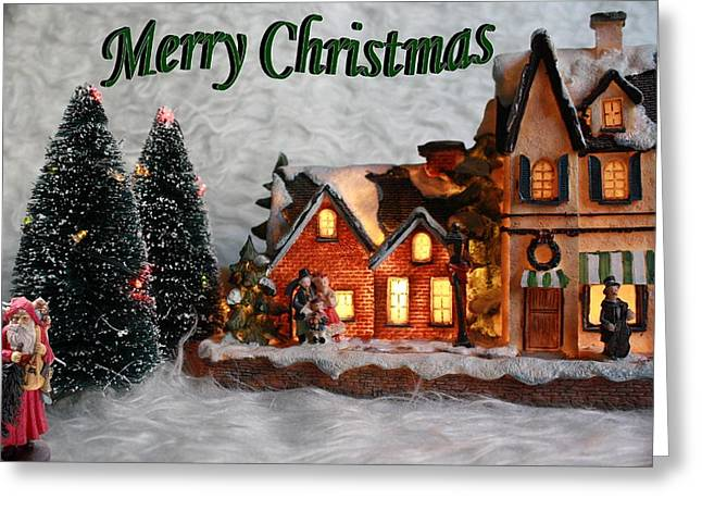 Christmas House Greeting Card by ChelsyLotze International Studio