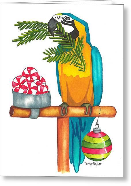 Christmas Macaw Greeting Card