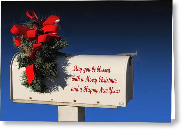 Christmas Mail Box Greeting Card by Linda Phelps