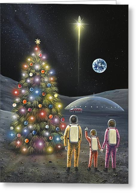 Christmas On The Moon, Space Art Greeting Card by Richard Bizley