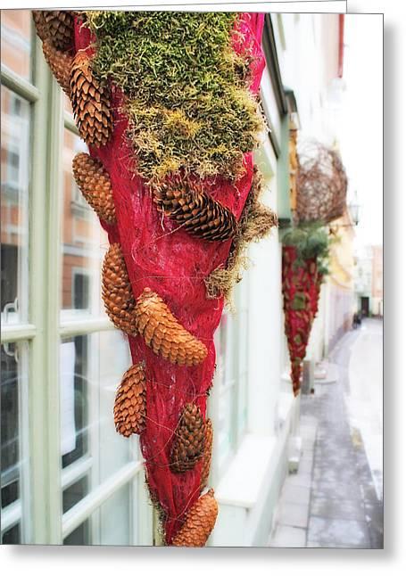 Christmas Ornaments In The Street Greeting Card by Aleksandr Volkov