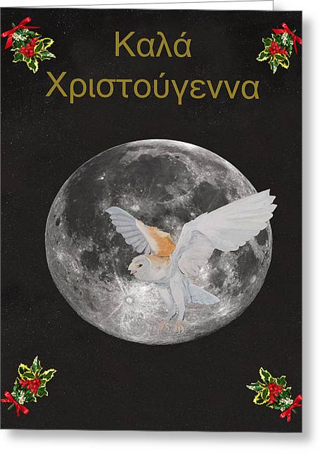 Christmas Owl Greek Greeting Card by Eric Kempson