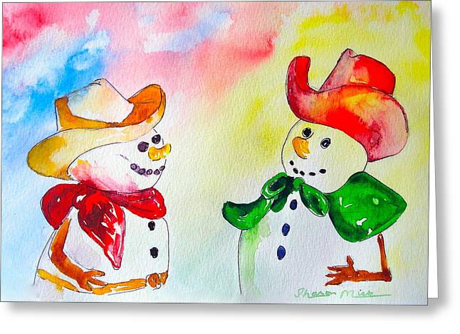 Greeting Card featuring the painting Christmas Partners by Sharon Mick