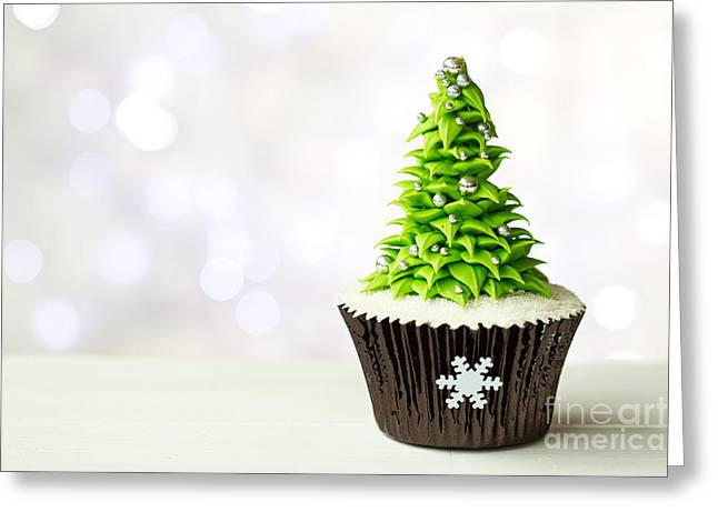 Christmas Tree Cupcake Greeting Card by Ruth Black