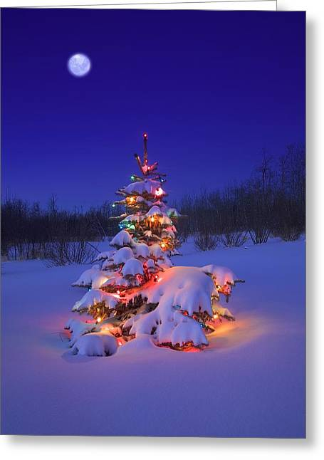 Christmas Tree Glowing Greeting Card by Carson Ganci