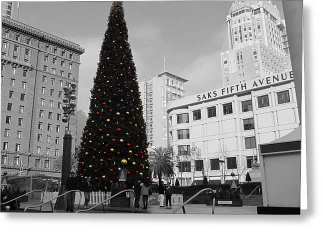 Christmas Tree-union Square Greeting Card by Douglas Barnard