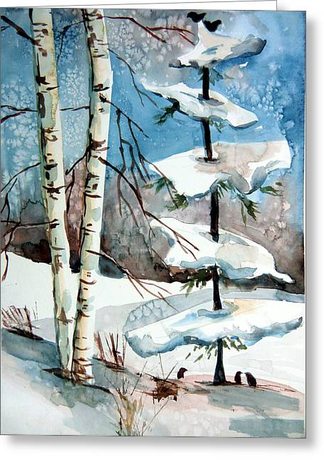 Christmas Twitters Greeting Card by Mindy Newman