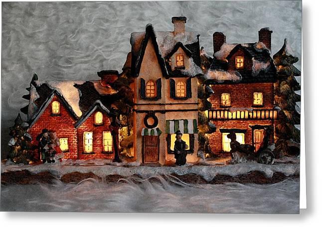 Christmas Village Greeting Card by ChelsyLotze International Studio