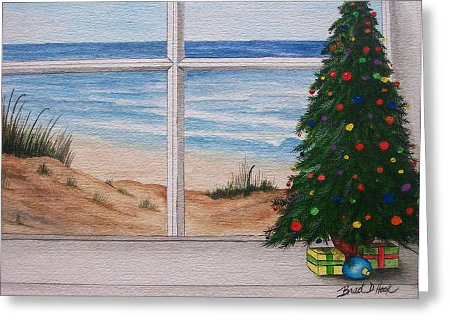 Christmas Window Greeting Card by Brad Hook