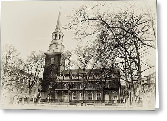 Christs Church Philadelphia In Sepia Greeting Card