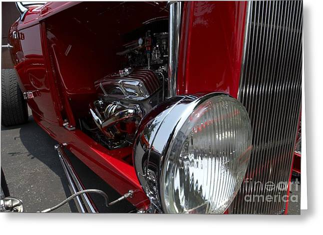 Chrome Engine Vintage Car Greeting Card