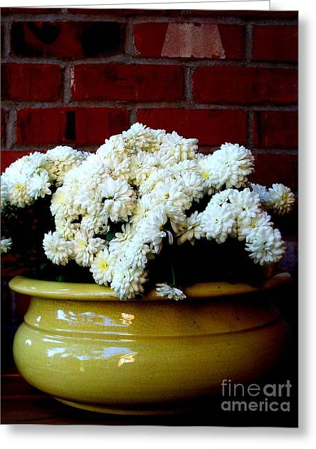 Chrysanthemums In A Yellow Pot Greeting Card