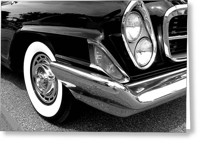 Chrysler 300 Headlight In Black And White Greeting Card