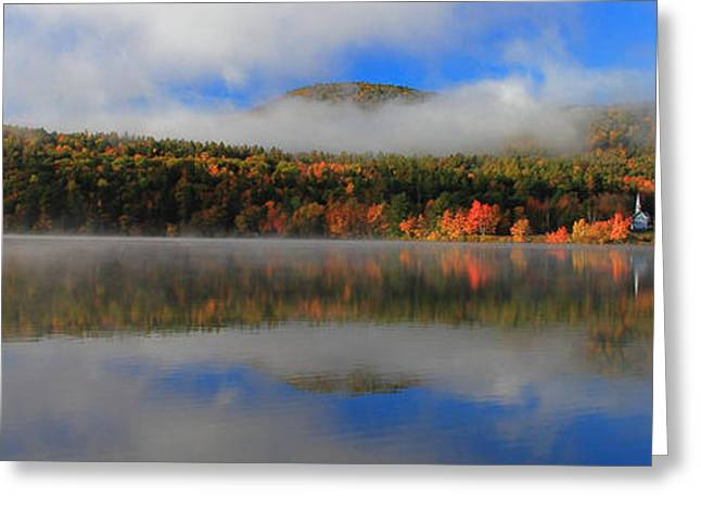 Church Across The Lake-panoramic Greeting Card