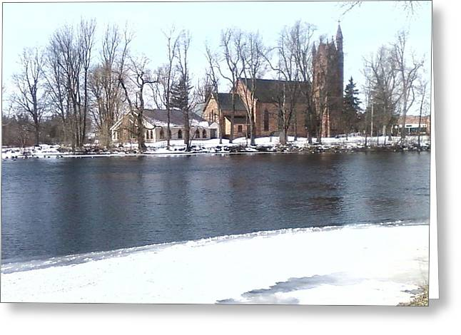 Church By The River Greeting Card by Cecelia Taylor-Hunt