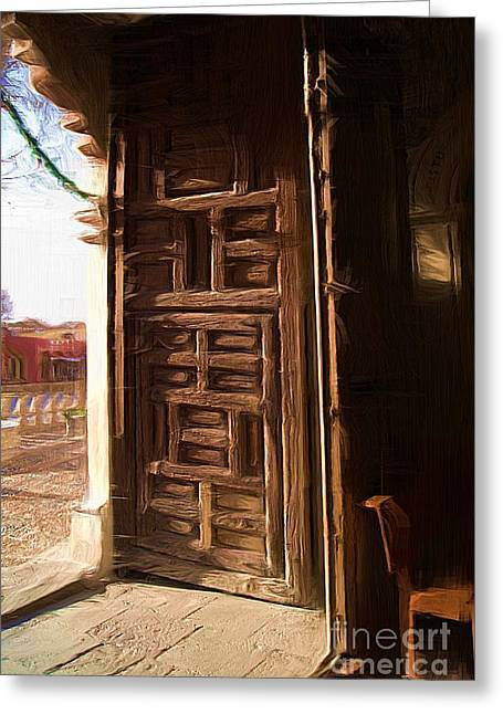 Church Door At Atotonilco Greeting Card by John  Kolenberg