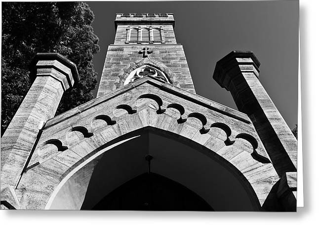 Church Facade In Black And White Greeting Card