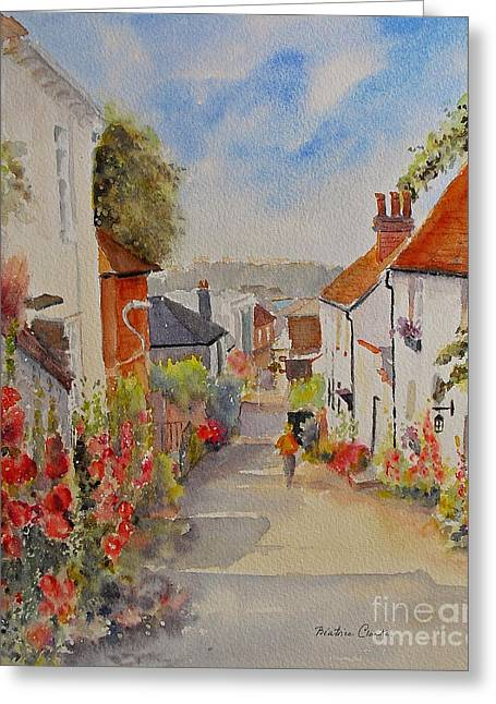 Greeting Card featuring the painting Church Hill - Hythe- Uk by Beatrice Cloake