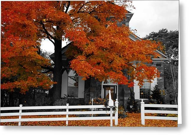 Church In Autumn Greeting Card by Andrea Kollo
