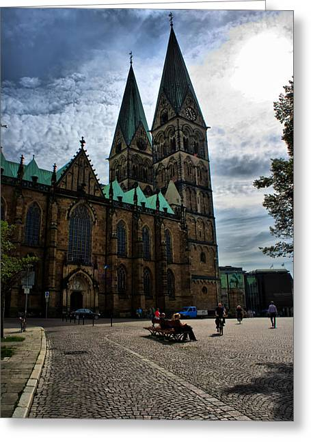 Greeting Card featuring the photograph Church In Bremen Germany 2 by Edward Myers