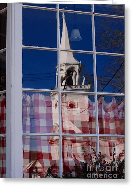 Church In Cafe Window Greeting Card by Andrea Simon
