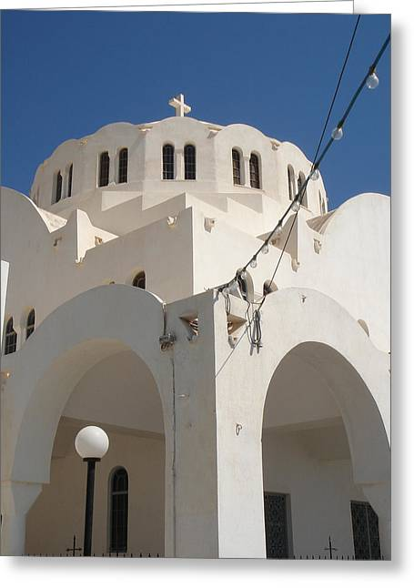 Church In Fira On Santorini Greece Greeting Card by Christopher Mullard