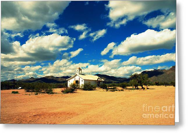 Church In Old Tuscon Arizona Greeting Card by Susanne Van Hulst