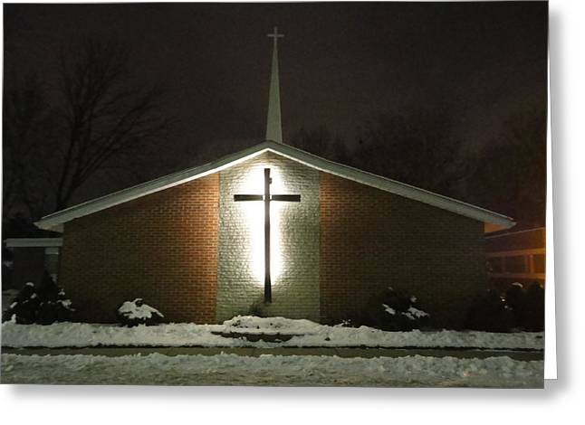 Church In The Snow Greeting Card by Guy Ricketts