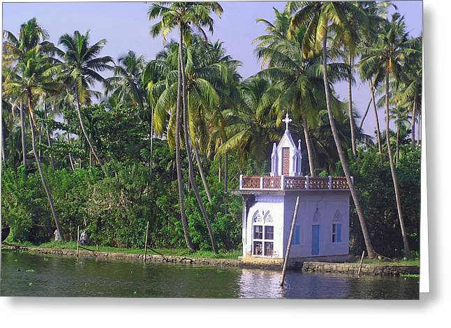 Church Located On A Coastal Lagoon In Kerala In India Greeting Card