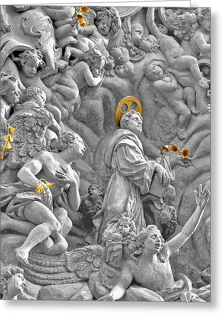 Church Of St James The Greater Prague - Stucco Bas-relief Greeting Card