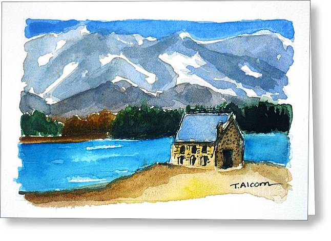 Greeting Card featuring the painting Church Of The Good Shepherd Lake Tekapo New Zealand by Therese Alcorn