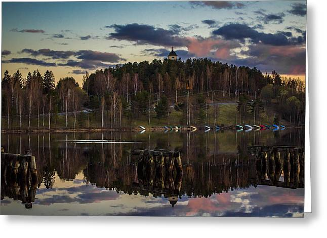 Greeting Card featuring the photograph Church On A Hill by Matti Ollikainen