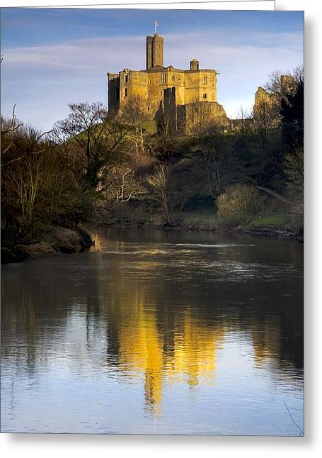 Church Reflection In Water, Warkworth Greeting Card by John Short