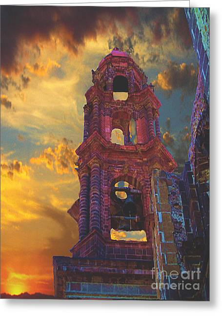 Greeting Card featuring the photograph Church Tower In San Miguel De Allende by John  Kolenberg