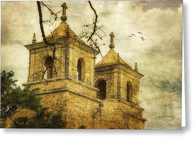 Greeting Card featuring the photograph Church Towers by Joan Bertucci