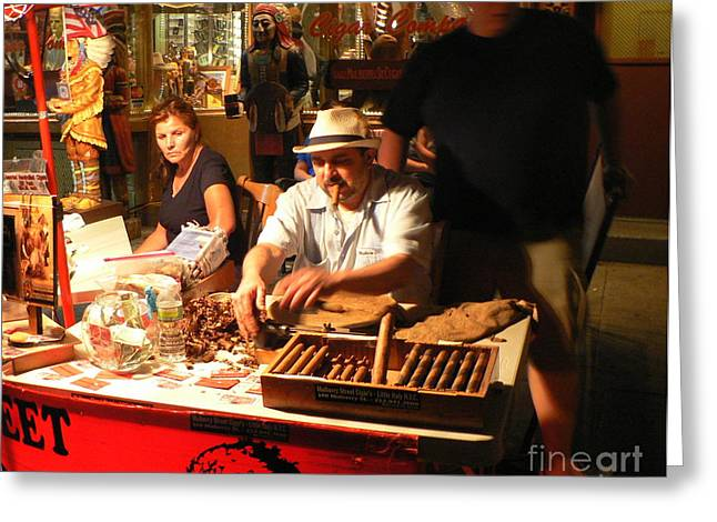 Cigar Roller Little Italy Greeting Card by Elizabeth Fontaine-Barr