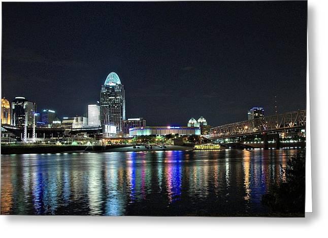 Cincinnati In Lights Greeting Card by Tina Karle