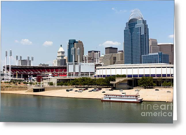 Cincinnati Ohio Skyline And Riverfront Greeting Card