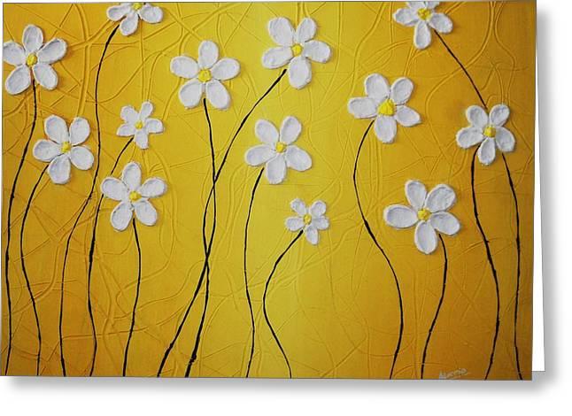 Greeting Card featuring the painting Cinco Petalos Tenia La Margarita by Edwin Alverio