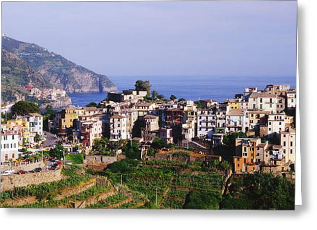 Cinque Terra Town Of Corniglia Greeting Card by Jeremy Woodhouse
