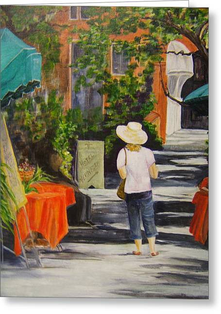 Cinque Terre Stroll Greeting Card by Maureen Pisano