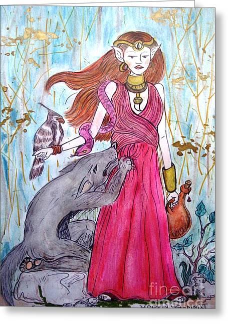 Circe The Sorceress Greeting Card by Koral Garcia