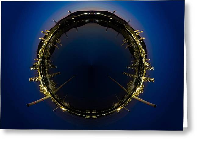 Circle Panorama Of Petrochemical Industry Greeting Card