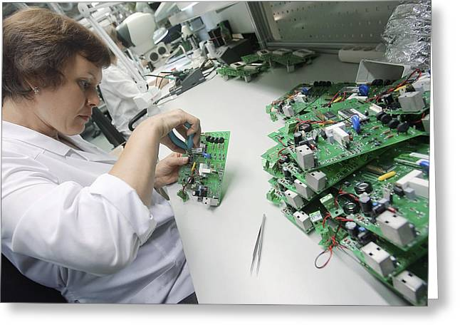 Circuit Board Assembly Work Greeting Card by Ria Novosti